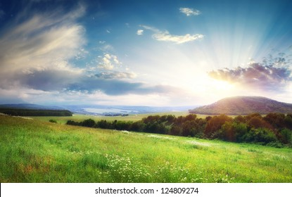 Beautiful landscape panorama. Nature composition.