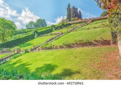Beautiful landscape panorama on historical view Gardens of Bardini (Giardino Bardini) and Boboli Gardens( Giardino di Boboli). Italy.