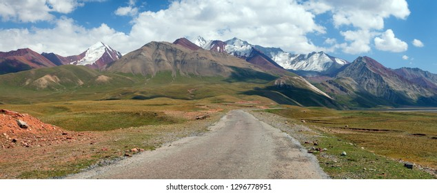 Beautiful landscape panorama of Pamir mountains area in Kyrgyzstan. River valley. Pamir highway, Roof of the world