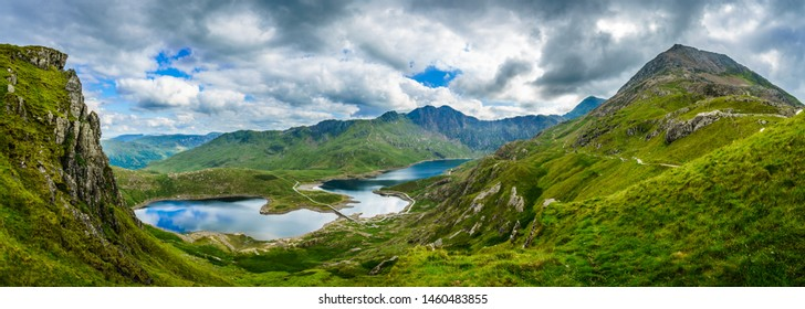Beautiful landscape panorama of Snowdonia National Park in North Wales. UK