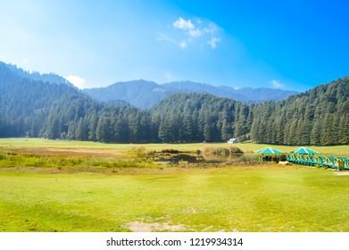 "Beautiful landscape panorama view Himalayan valley of ""DALHOUSIE KULLU"", JAMMU AND KASHMIR, HIMACHAL PRADESH, INDIA, ASIA. Famous for Golf course and outdoor activities. Indian nature travel concept"