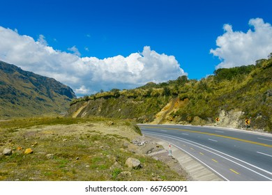 Beautiful landscape of Papallacta mountain in a sunny day with the road in Quito Ecuador