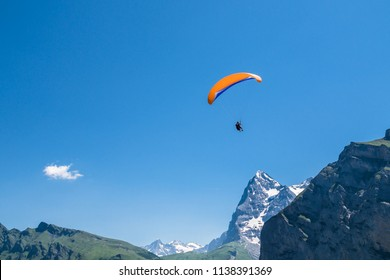 Beautiful landscape with paragliders in Alps, Switzerland. Murren, Lauterbrunnen, Swiss.