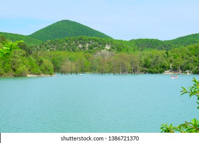 Beautiful landscape of the park and the lake in Sukko