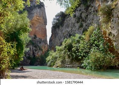 The beautiful landscape in passarelas del vero, ruta de las passarelas, in Alquezar- Spain