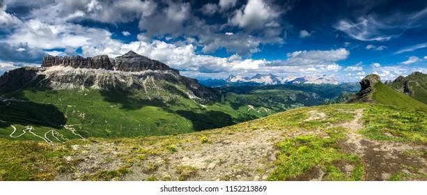 beautiful landscape, Passo Pordoi, Dolomites, Italy