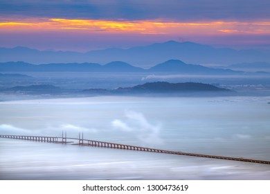 Beautiful landscape of Penang bridge 1 view from  Penang Hill View point