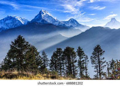 Beautiful landscape photo of Dhaulagiri mountains from Poon hill
