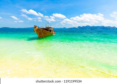 Beautiful landscape photo with sea and long boat, Krabi, Thailand