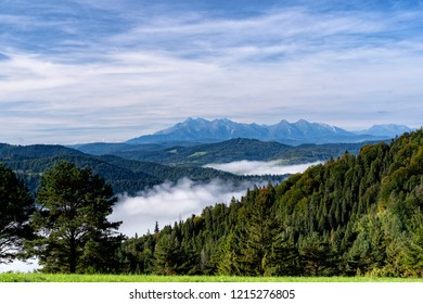 Beautiful landscape of Pieniny National Park in Slovakia. Autumn mountain landscape in a sunny day.