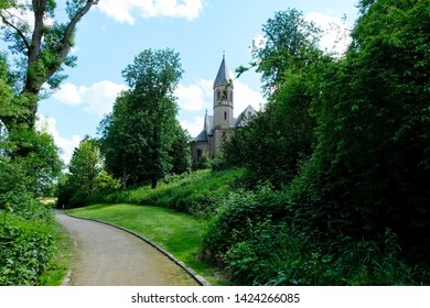 Beautiful landscape of the public park of Abbey Saarn, Germany