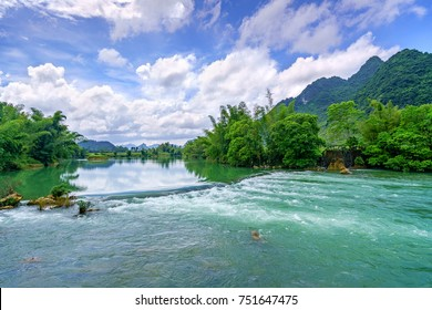 Beautiful landscape, Quay Son river with rice field and mountain Trung Khanh town in Cao Bang province, Vietnam