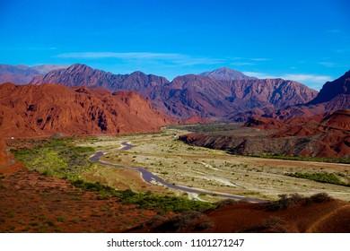 Beautiful landscape of the Quebrada de Cafayate or quebrada de las conchas in the province of Salta, Argentina.