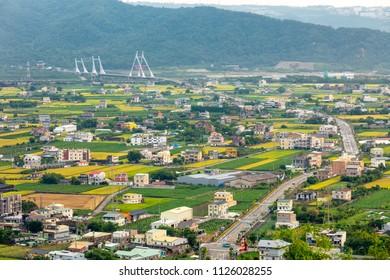 Beautiful landscape of rice farm in Miaoli, Taiwan