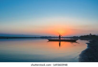 Beautiful landscape of River Island Majuli.