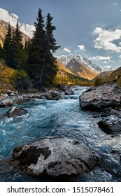Beautiful landscape of river in the mountain valley and autumn yellow forest in Kazakhstan, Almaty