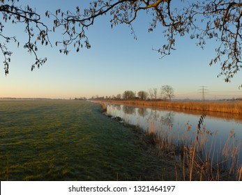 beautiful landscape with river on the countryside of Groningen