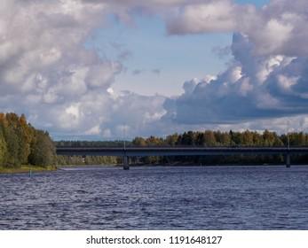 Beautiful landscape of river Oulujoki  and bridge. Oulu, Finland