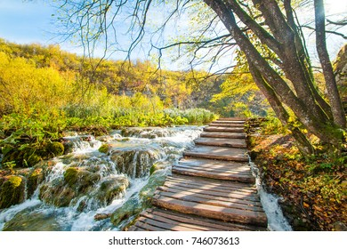 Beautiful landscape, river stream and wooden path in the Plitvice Lakes National Park in Croatia