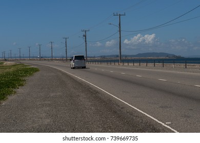 Beautiful landscape of the road to the city of kingston from the ocean