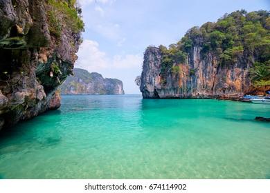 Beautiful landscape with rocks, cliffs, tropical beach. Krabi, Thailand.