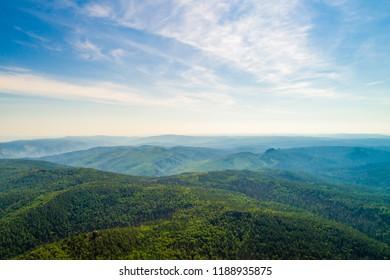 Beautiful landscape, rocks in national park, the reserve in Russia, Siberia, Krasnoyarsk, shooting from air