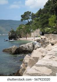 Beautiful landscape of rocky coast in the Adriatic sea. Somewhere in Montenegro.