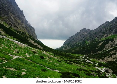 A beautiful landscape with rocky mountain  in High Tatry, Slovakia. The High Tatras Mountains in summer