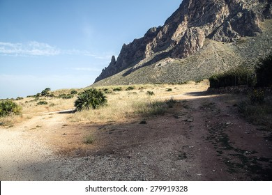 Beautiful landscape of rocky mountain in Sicily. Blue sky. Sunny day.