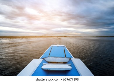 Beautiful landscape of Rowing boat in the lake
