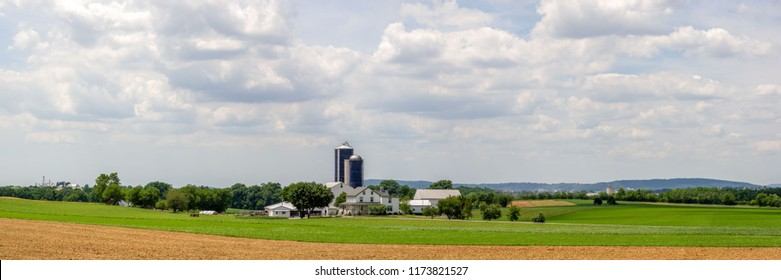The beautiful landscape of rural farming America. The farmland of Lancaster County, Pennsylvania.