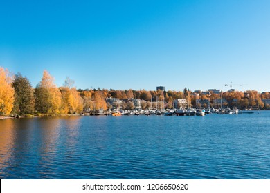 Beautiful landscape of the Saimaa Canal in the town of Lappeenranta, Finland