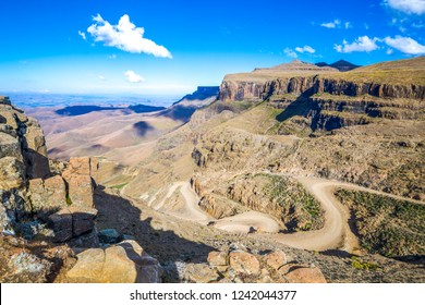 The beautiful landscape of Sani Pass in the border between South Africa and Lesotho