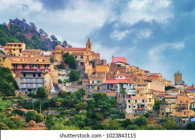 Beautiful landscape of Savoca village on the mountain, Sicily, Italy