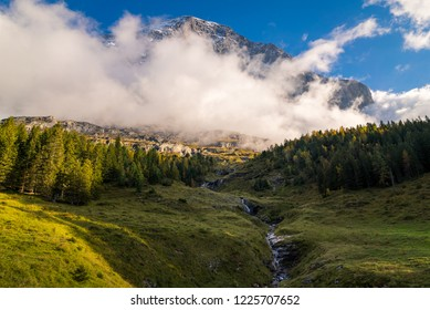 Beautiful landscape scene with the famous Eiger North Face mountain in the background in the alpine region of Grindelwald, Switzerland.