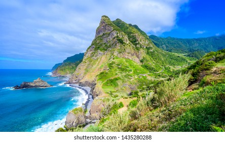 Beautiful landscape scenery of Madeira Island - View from Miradouro de Sao Cristovao in the Northern coastline, Sao Vicente area near Boaventura, Portugal