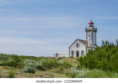 Beautiful landscape and scenic area of Belle-Ile-en-mer with lighthouse at Pointe des Poulains, Bretagne, France