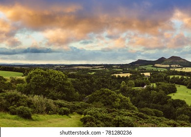 Beautiful landscape of Scott's View to the Eildon Hills and River Tweed in the Scottish Borders at colorful susnet. Scotland, UK