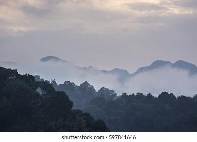 Beautiful landscape with sea of fog at Ratchaprapha Dam Khao Sok National Park Surat Thani Province Thailand.