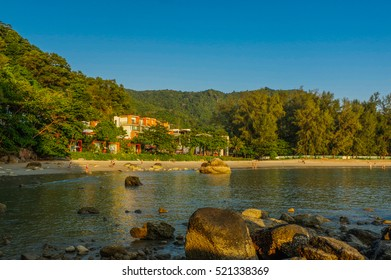 a beautiful landscape sea near bridge pier at beach of Laem Panwa Cape famous attractions in Phuket island, Thailand