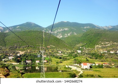 Beautiful landscape seen from the Dajti Express cable car. Dajti Express (or Dajti Ekspres) cable cars going to Dajti mountain. The longest cableway in the Balkans. Tirana, Albania