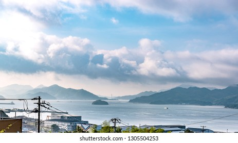 Beautiful landscape of the Seto Inland Sea from Mihara city in Hiroshima, Japan