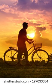 Beautiful landscape silhouette bicycle.