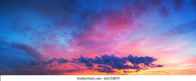 beautiful landscape with sky, clouds and sunrise a panoramic view. panorama sunset.