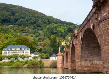 Beautiful landscape a small sity with riverside houses, Germany