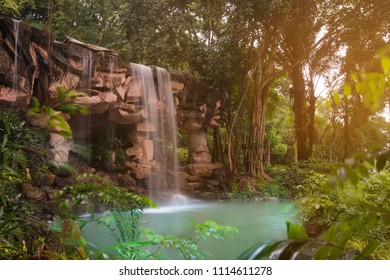Beautiful landscape small water fall in the tropical park