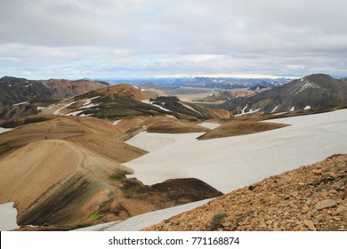 Beautiful landscape with snowy mountains in Landmannalaugar Iceland