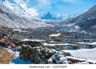 Beautiful landscape of snowy mountains and small village in the Everest Base Camp area, trekking