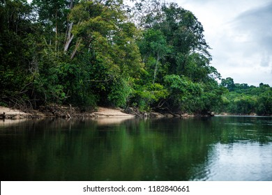 Beautiful landscape in the south american jungle. Big river with reflection. Huge rocks and lush green trees.