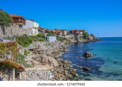 Beautiful landscape from Sozopol Bulgaria,with beautiful houses and stunning Black Sea, Sozopol Bulgaria, June 12 2018